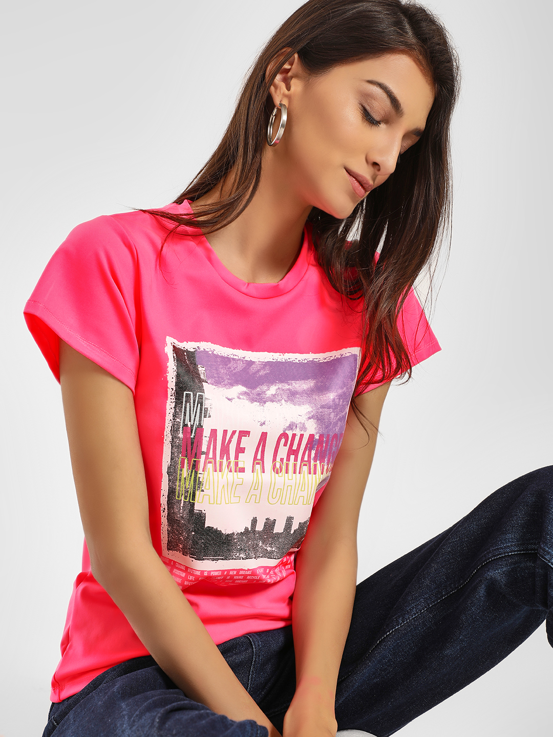 KOOVS Pink Slogan Placement Print T-Shirt 1