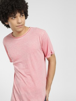 Soulstar Burn Out Curved Hem T-Shirt