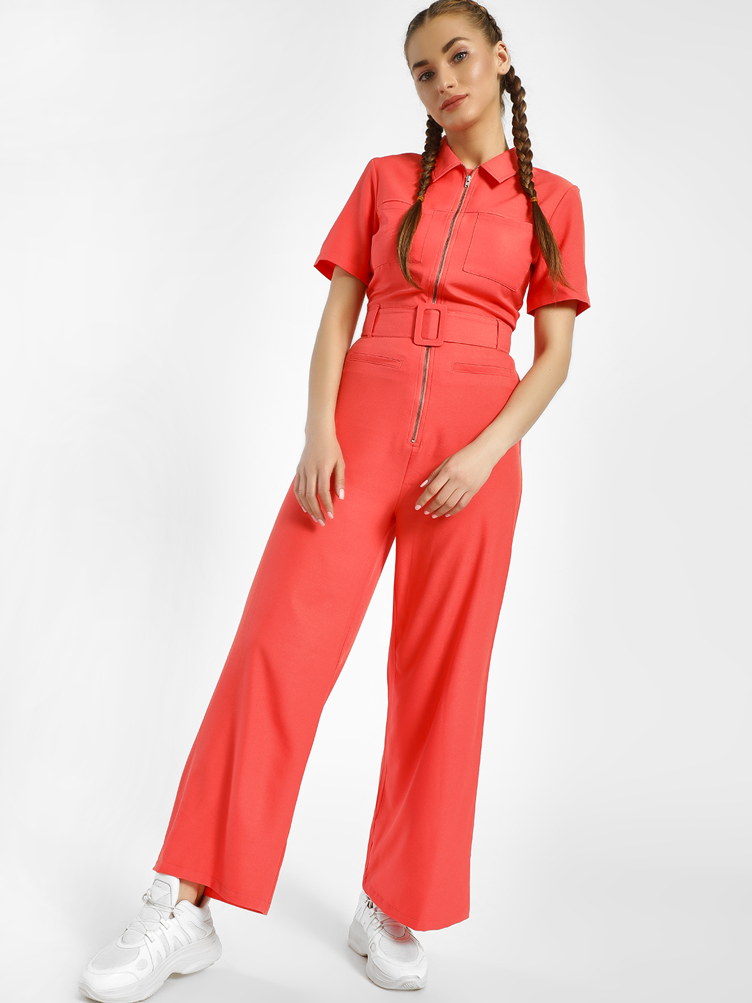 KOOVS Peach Zip-Up Collared Belted Jumpsuit 1
