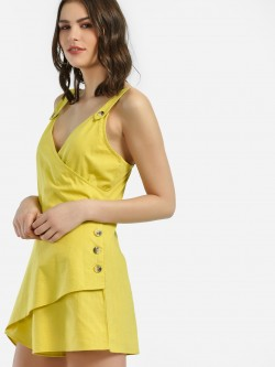 KOOVS Horn Button Wrap Detail Playsuit