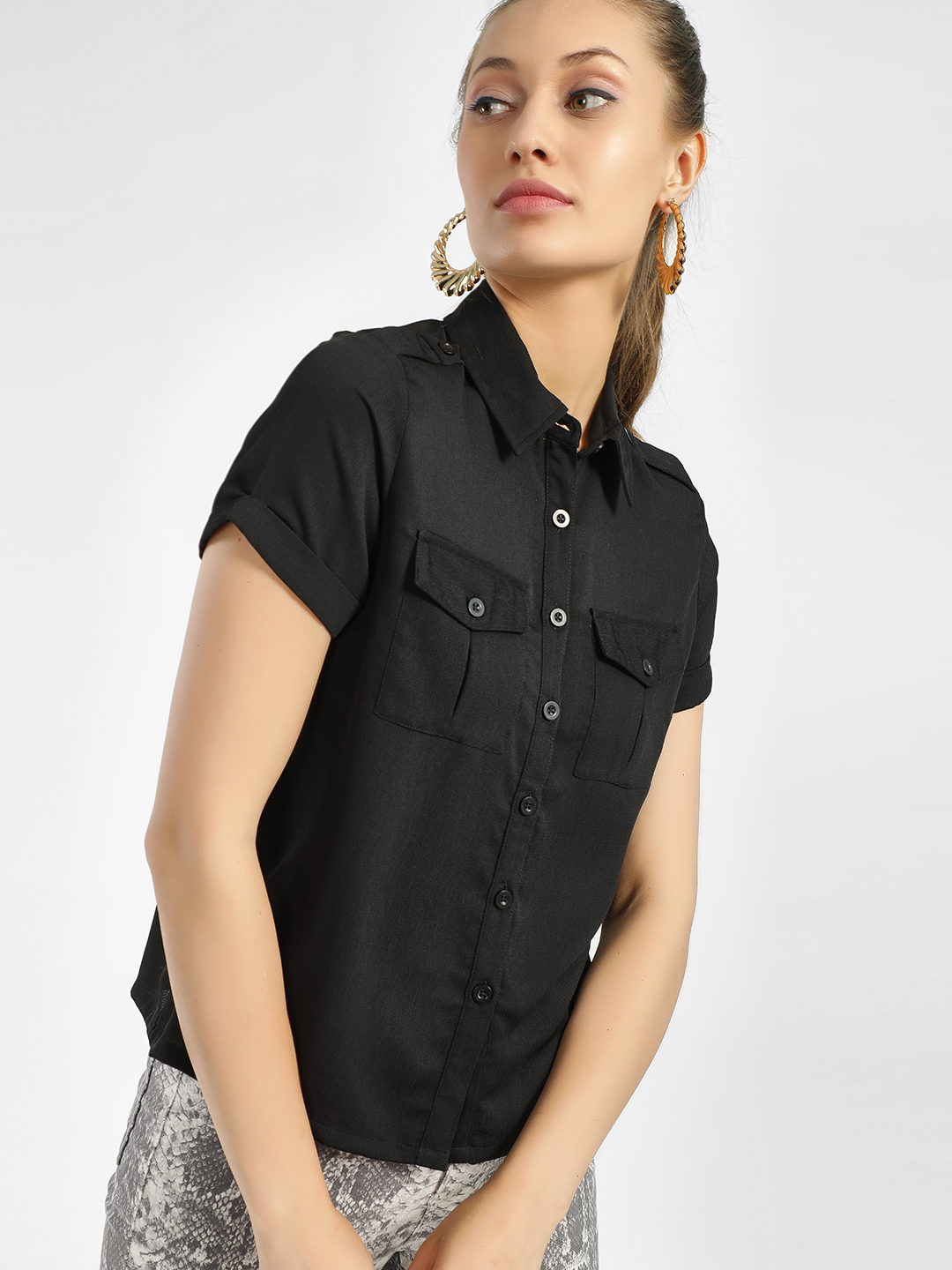 KOOVS Black Basic Shirt 1