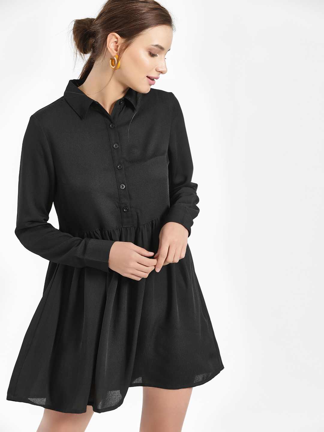 KOOVS Black Basic Collar Skater Dress 1