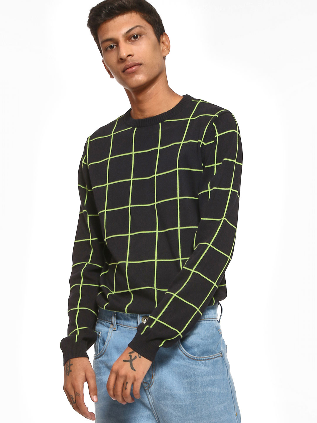KOOVS Black Grid Check Knit Sweater 1