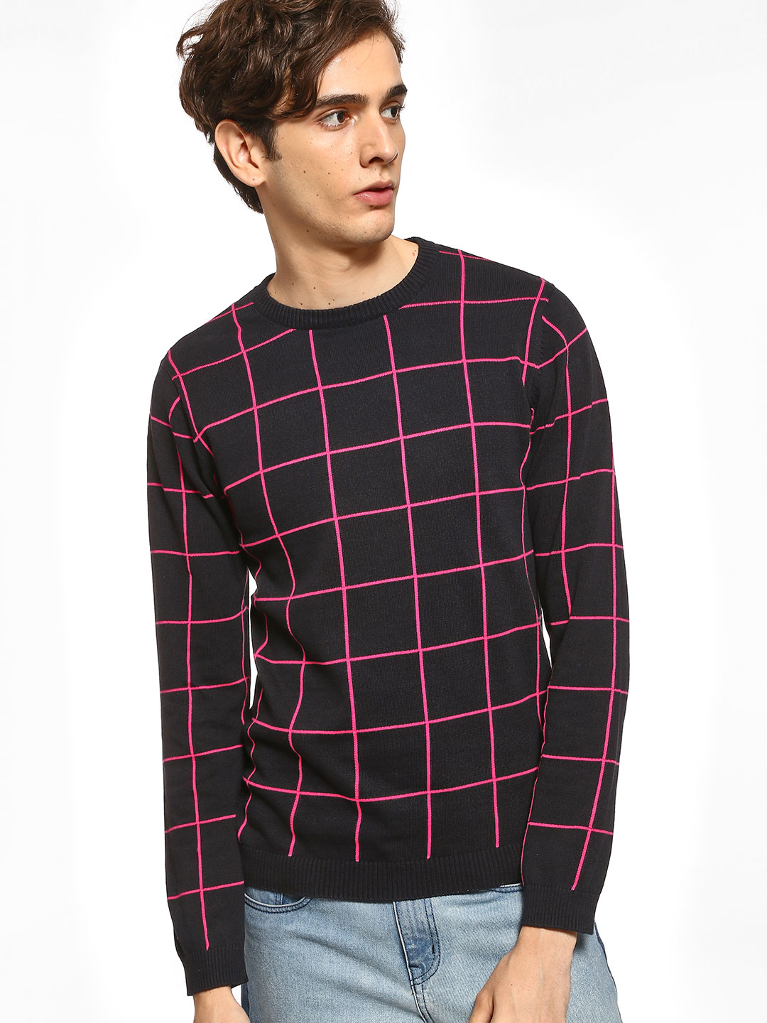 KOOVS Black Grid Check Knitted Pullover 1