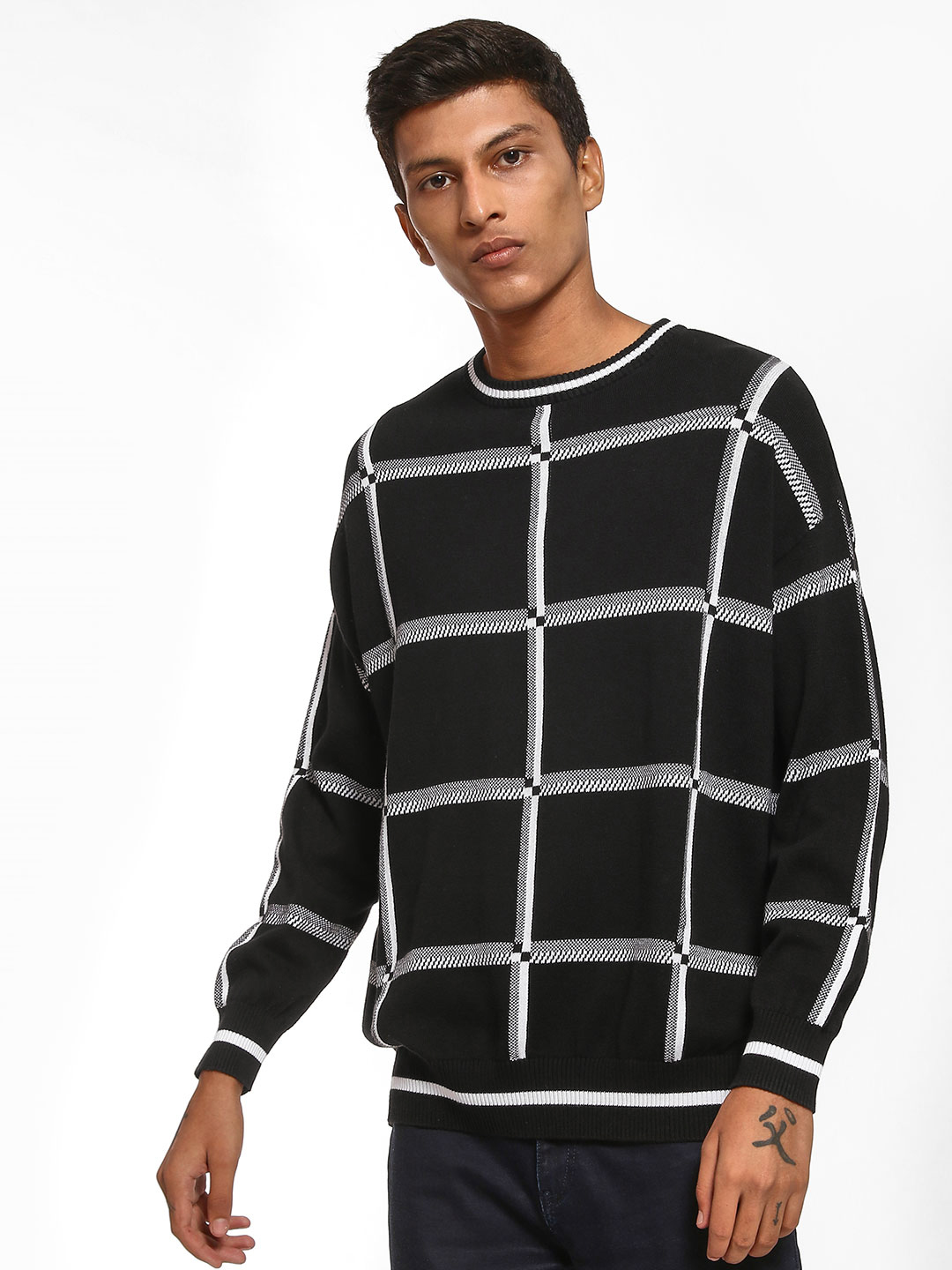 KOOVS Black Windowpane Check Knit Sweater 1