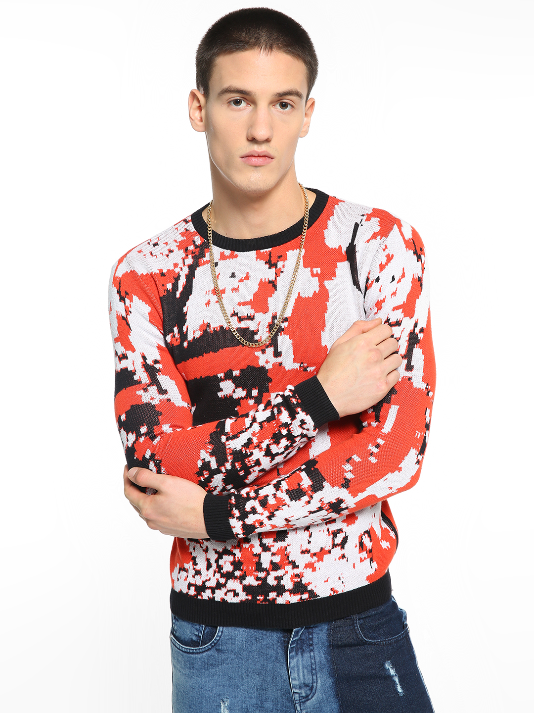 KOOVS Multi Knitted Abstract Camo Pullover 1