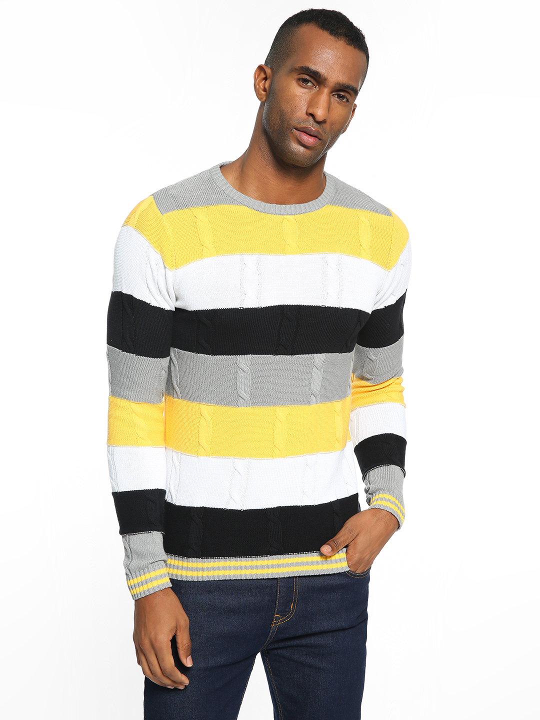 KOOVS Multi Colour Block Cable Knit Sweater 1