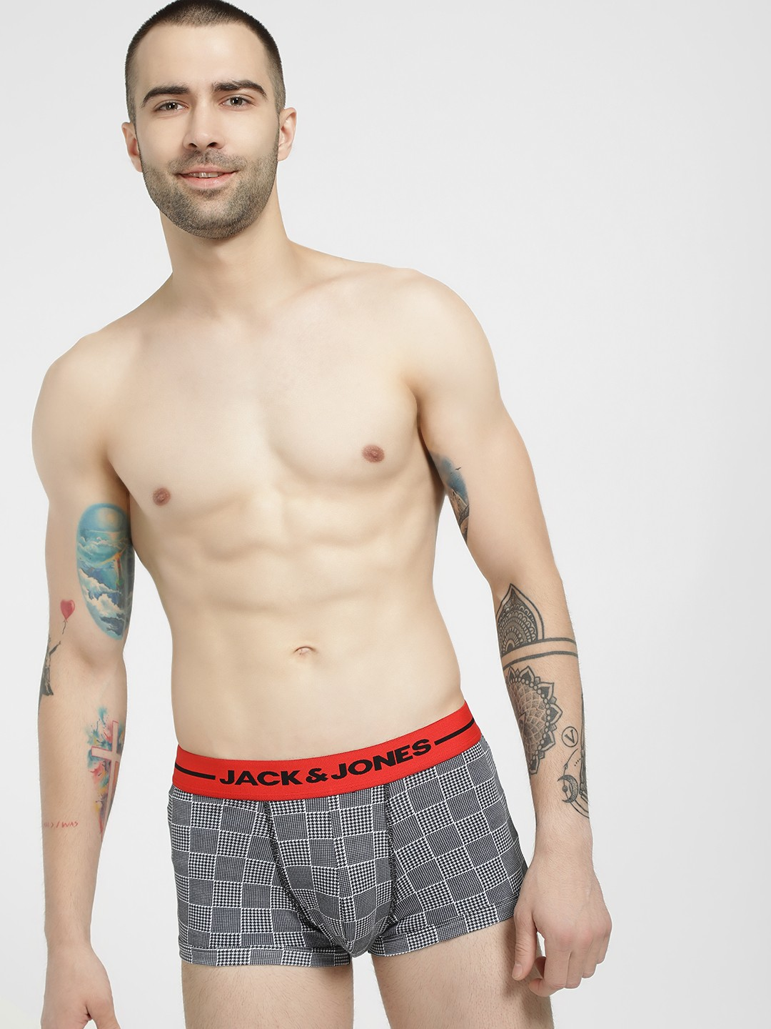 Jack & Jones Grey Glen Check Print Trunks 1