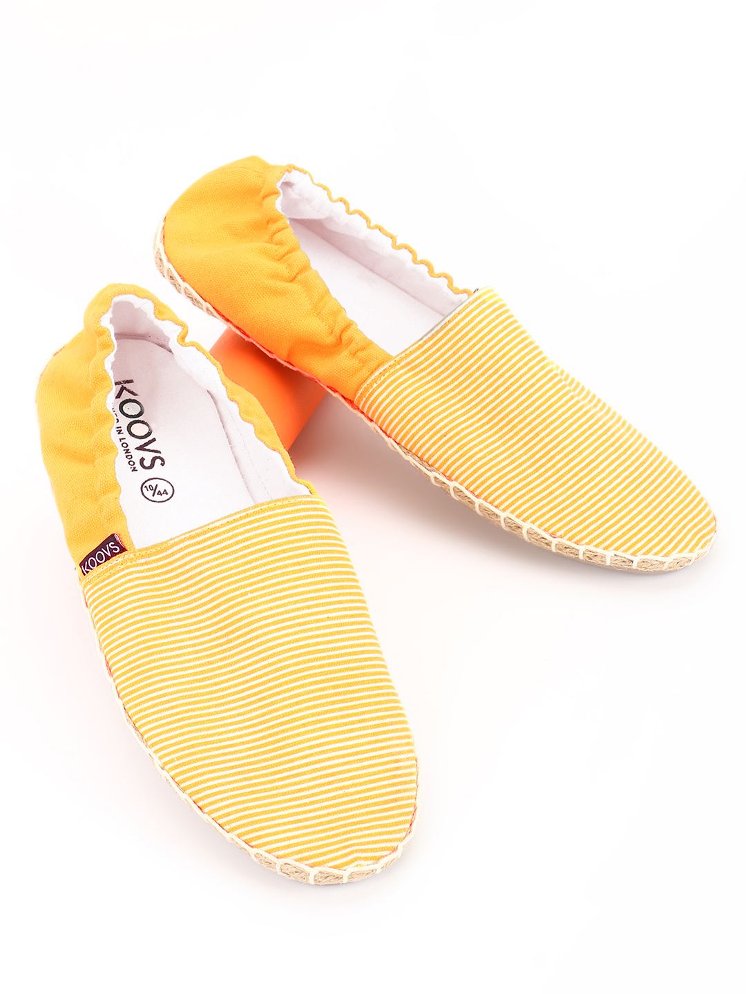 KOOVS Yellow Pinstripe Elasticated Espadrilles 1