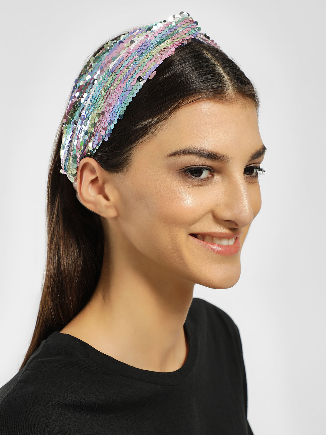 JAWBREAKER Blue Sequinned Twisted Headband 1