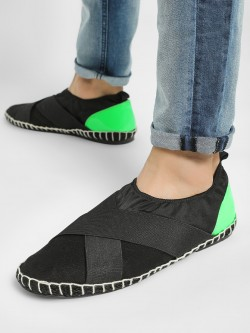 KOOVS Patent Tab Cross-Strap Elasticated Espadrilles