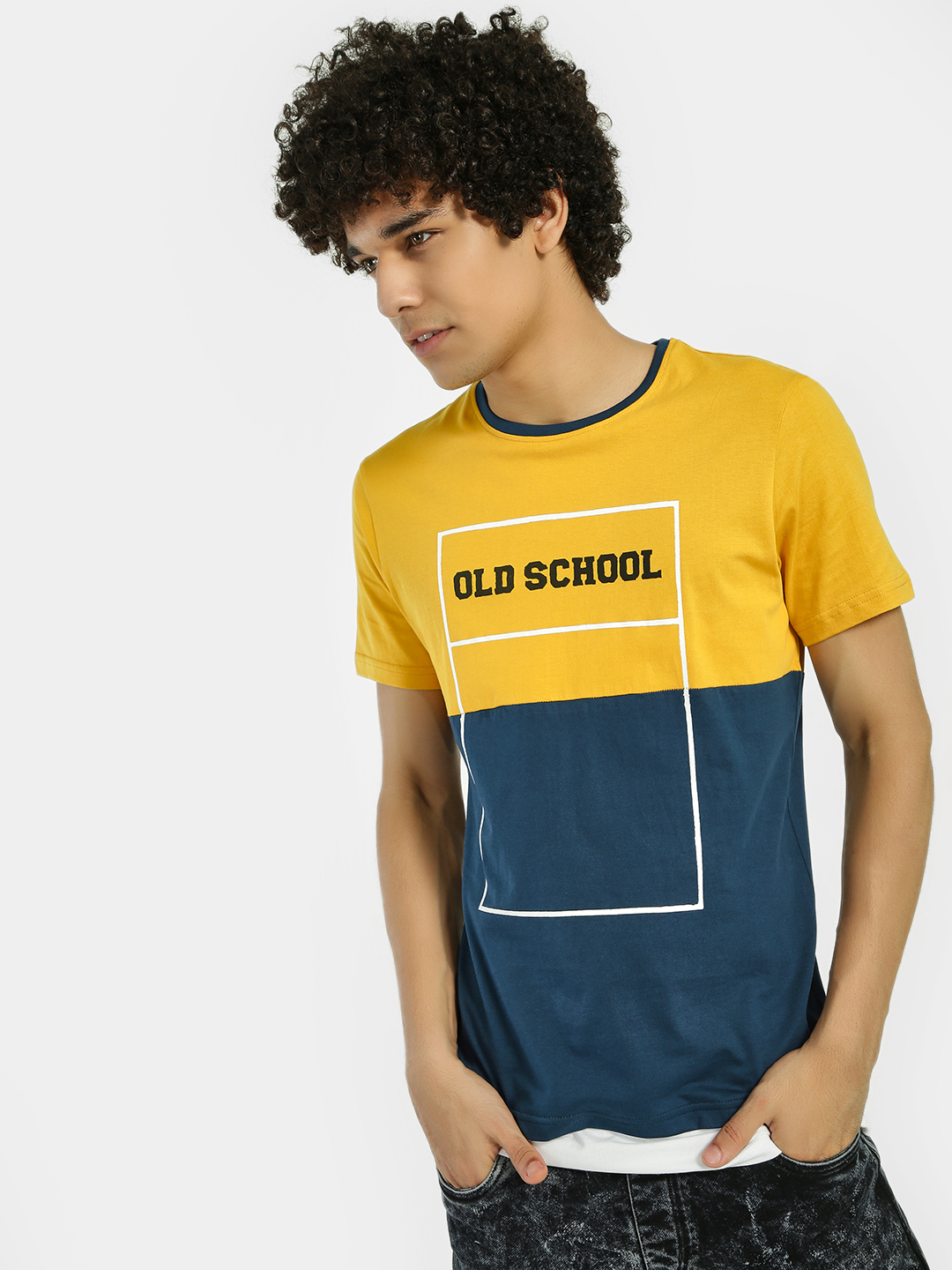 Fighting Fame Yellow Text Colour Block Longline T-Shirt 1