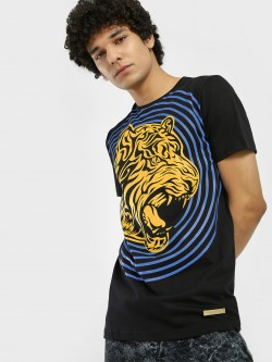 Fighting Fame Tiger Print Crew Neck T-Shirt