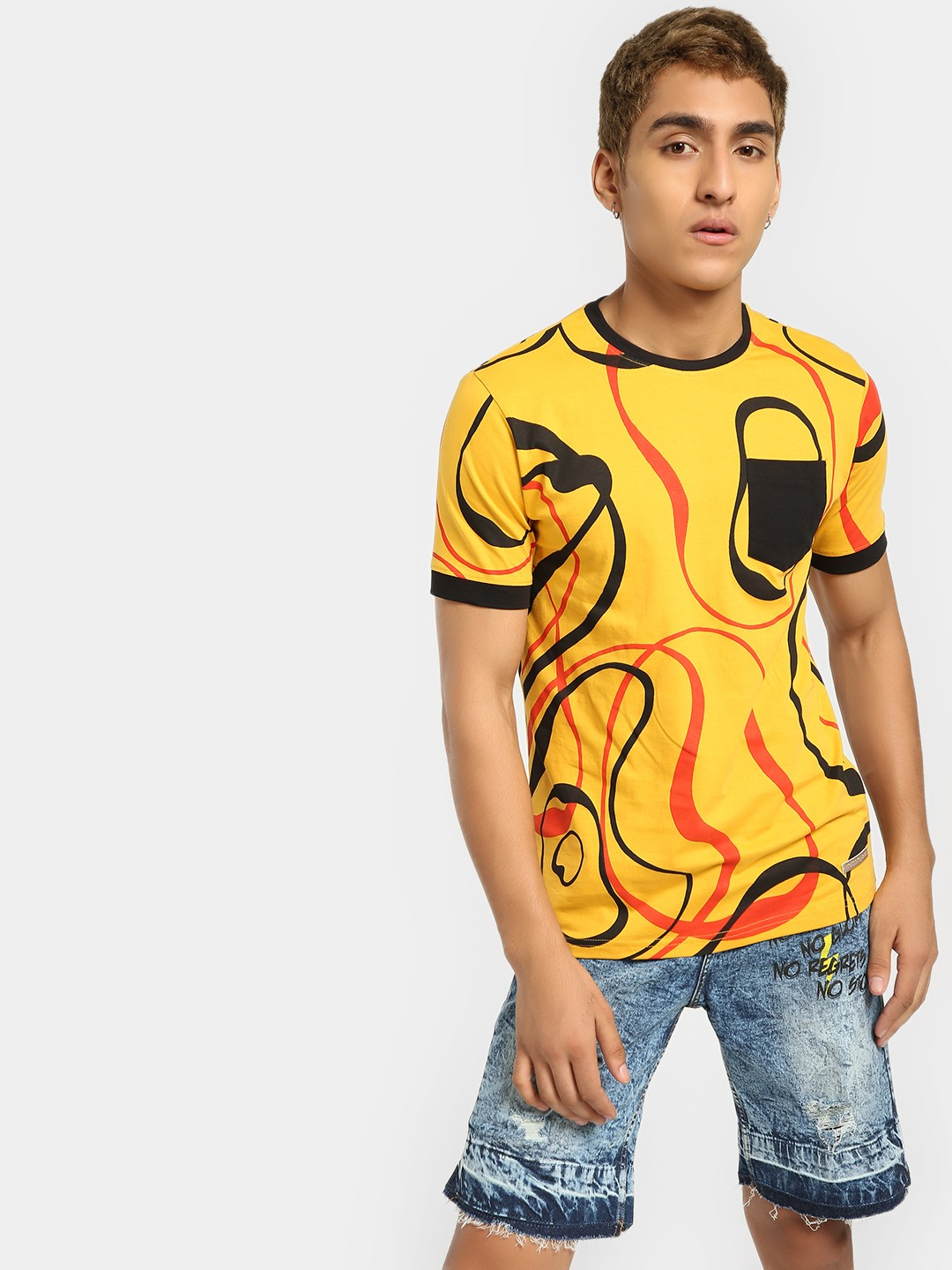 Fighting Fame Yellow Abstract Circle Print T-Shirt 1