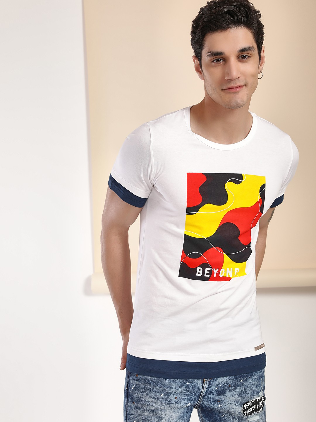 Fighting Fame White Abstract Colour Block Patch T-Shirt 1