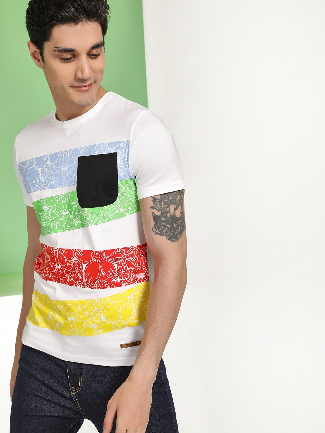 Fighting Fame White Floral Colour Block Print T-Shirt 1