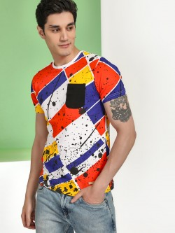 Fighting Fame Colour Block Splatter Print T-Shirt