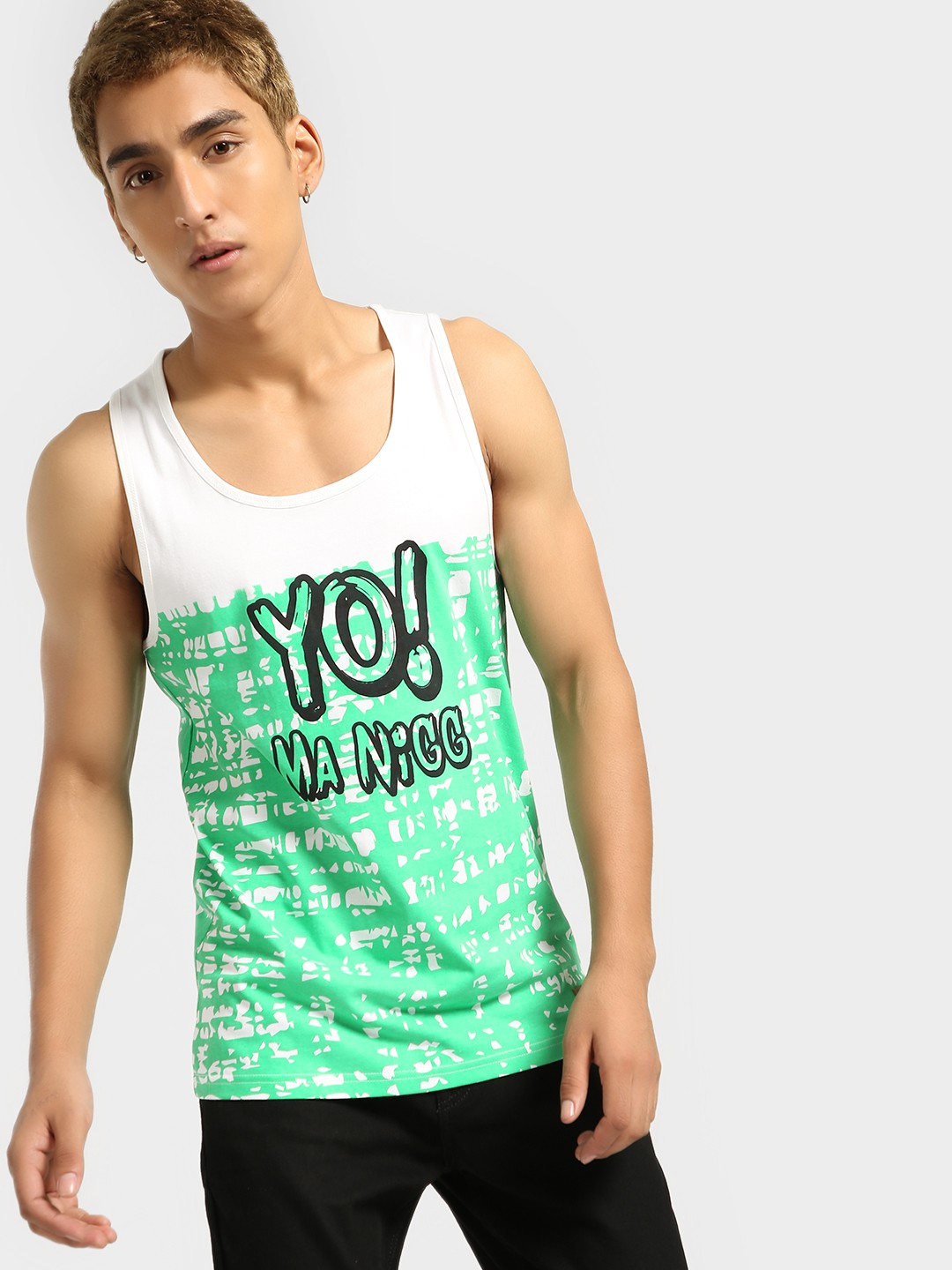 Fighting Fame Green Colour Block Text Print Vest 1