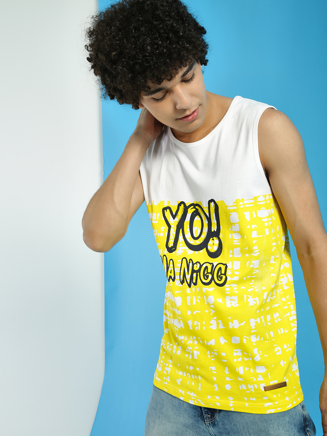 Fighting Fame Yellow Colour Block Text Print Vest 1