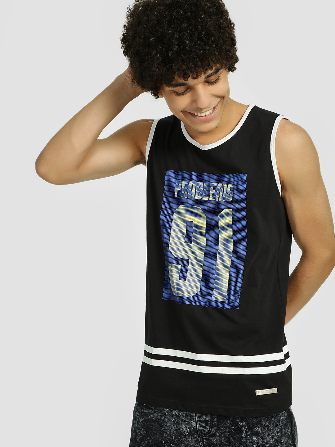 Fighting Fame Black Problems 91 Print Varsity Vest 1