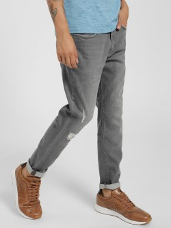 Lee Cooper Mid-Wash Distressed Cropped Slim Jeans
