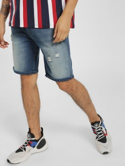 Lee Cooper Light Wash Distressed Denim Shorts