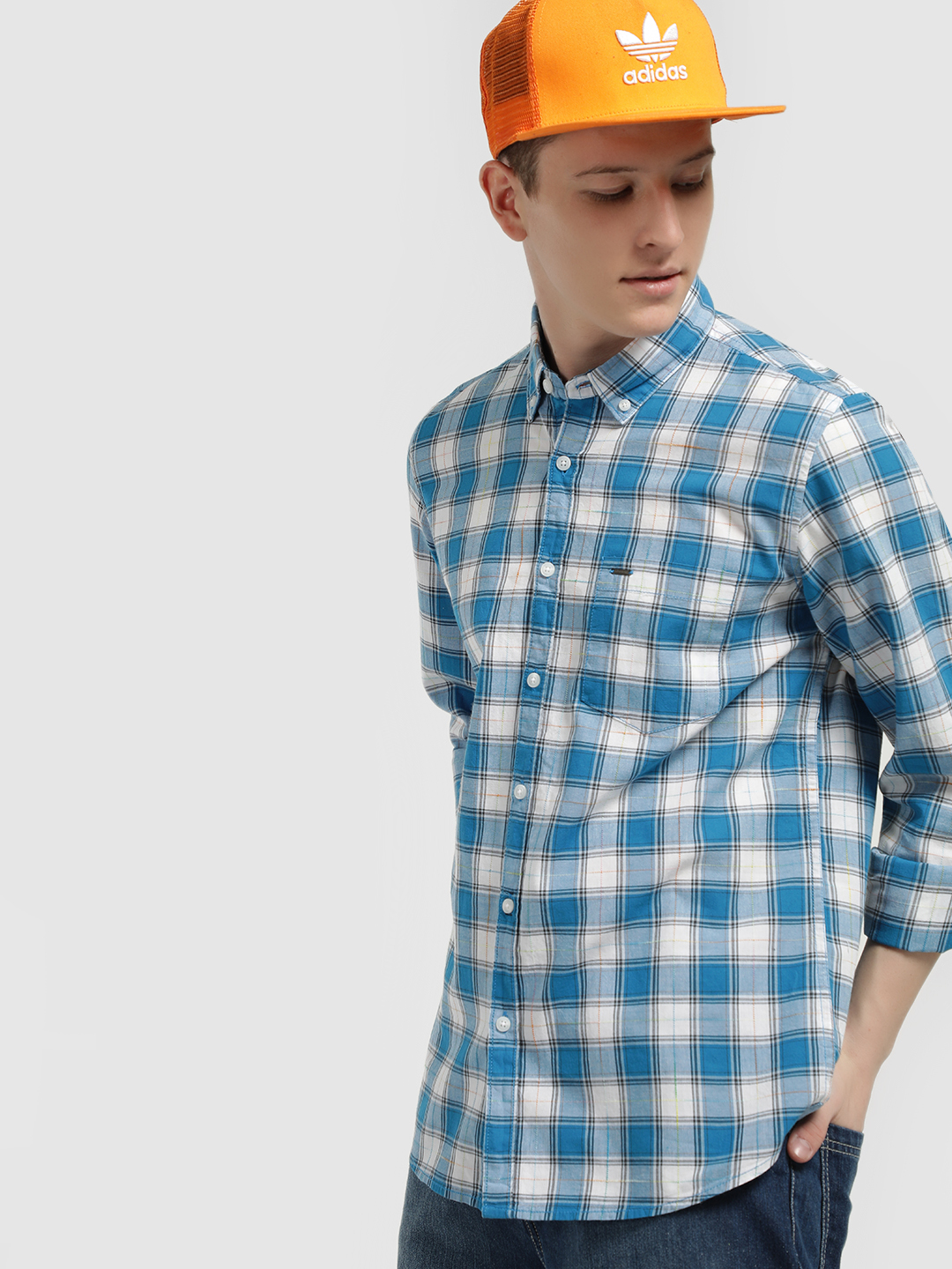 Lee Cooper Blue Long Sleeve Checked Shirt 1