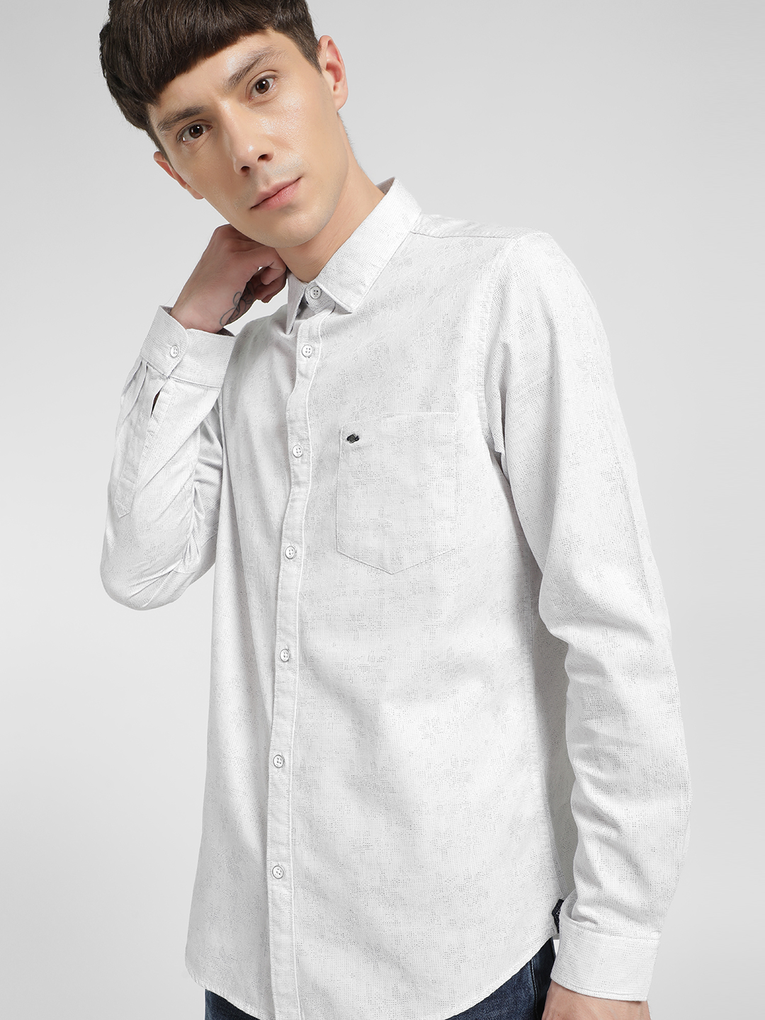 Lee Cooper White Floral Self Design Shirt 1