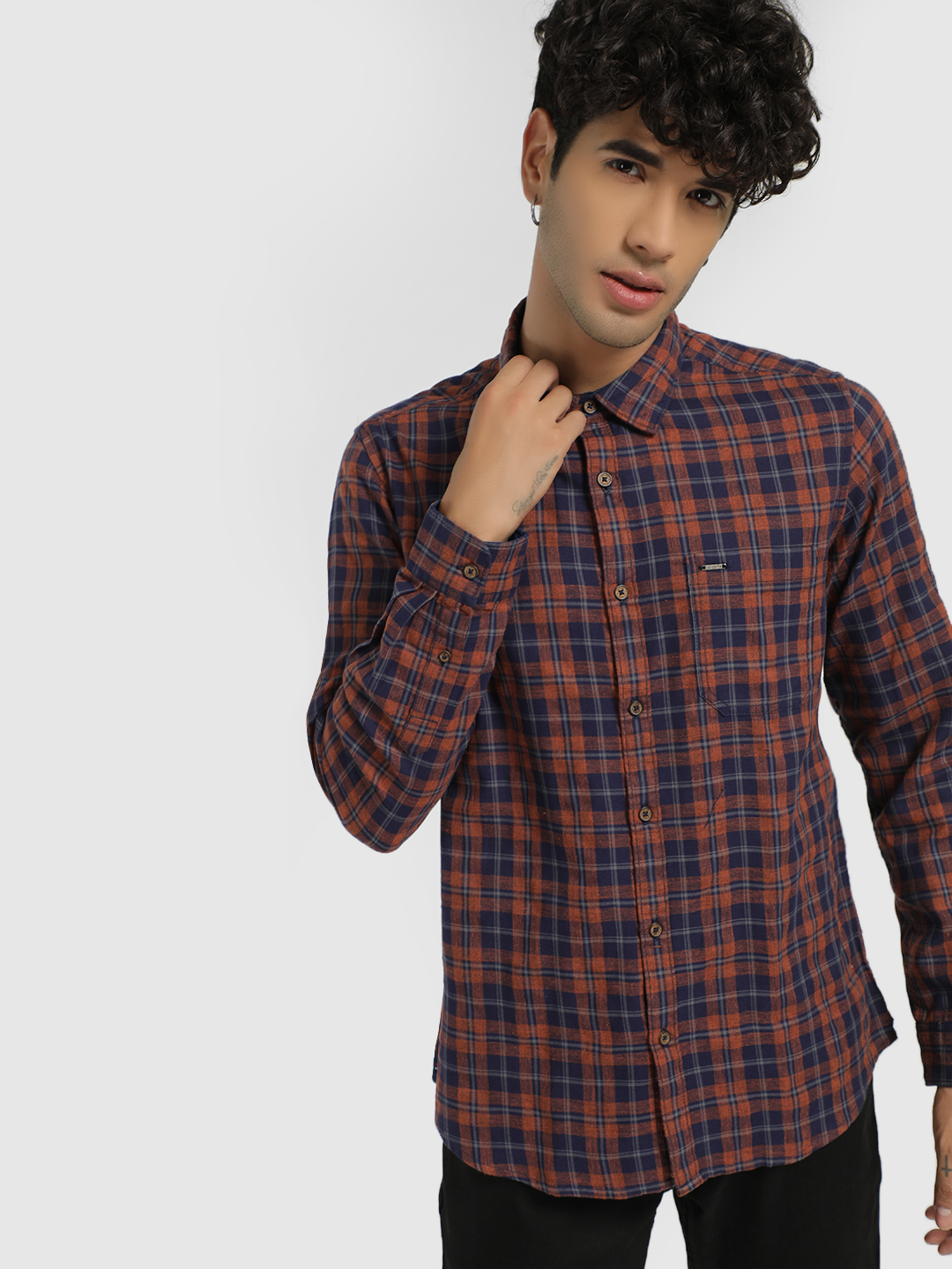 Lee Cooper Brown Woven Multi-Check Shirt 1