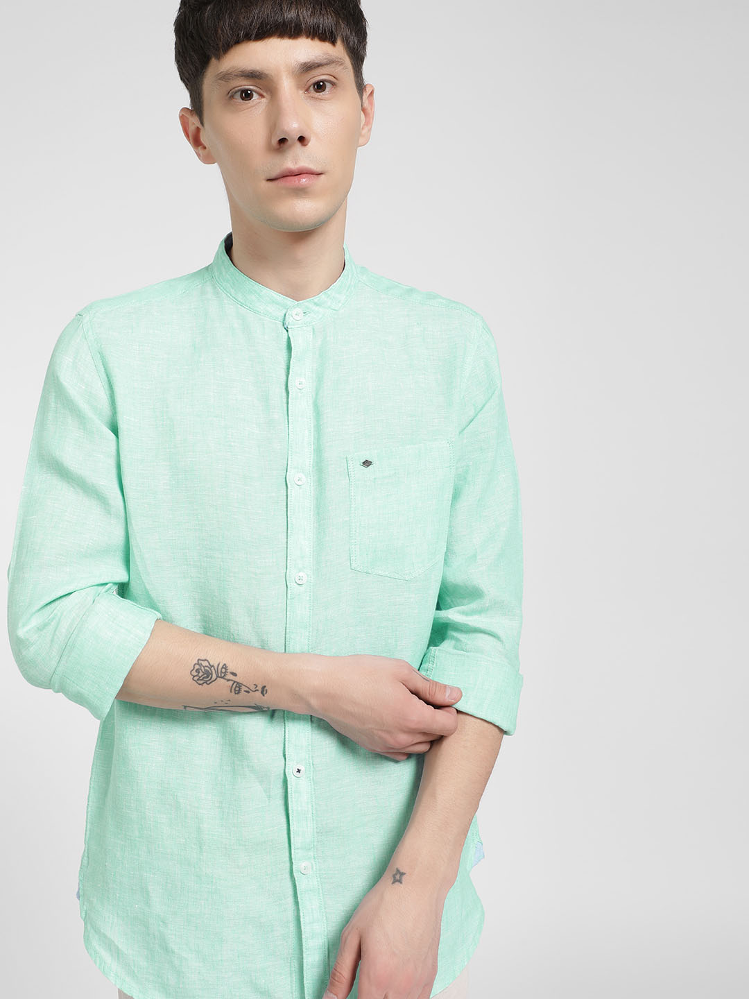 Lee Cooper Green Linen Grandad Collar Shirt 1