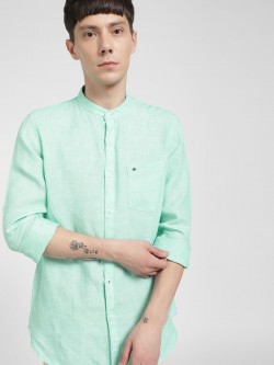 Lee Cooper Linen Grandad Collar Shirt