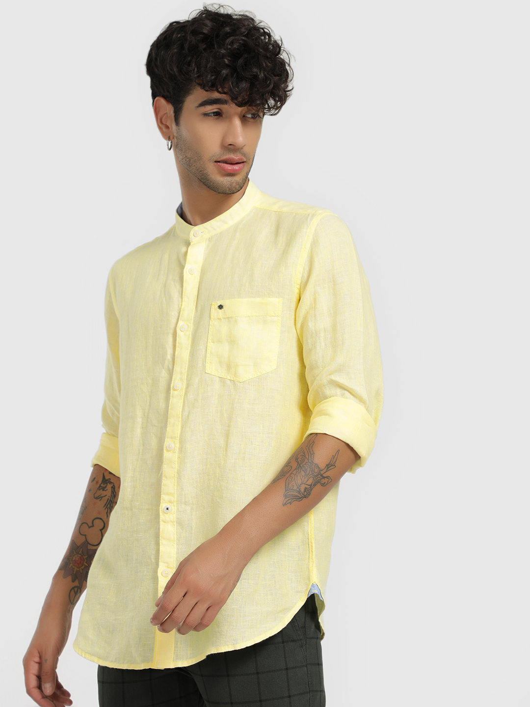 Lee Cooper Yellow Linen Grandad Collar Shirt 1