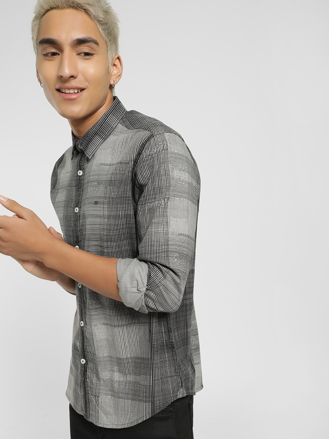 Lee Cooper Grey Abstract Check Casual Shirt 1