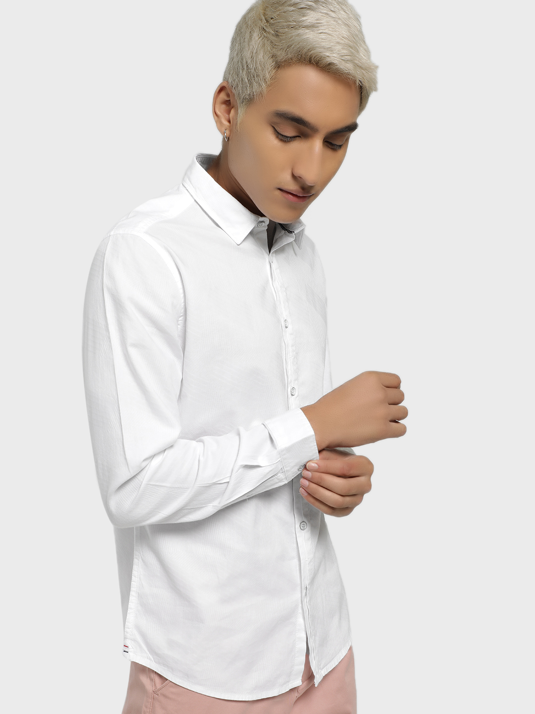 Lee Cooper White Self-Design Long Sleeve Shirt 1
