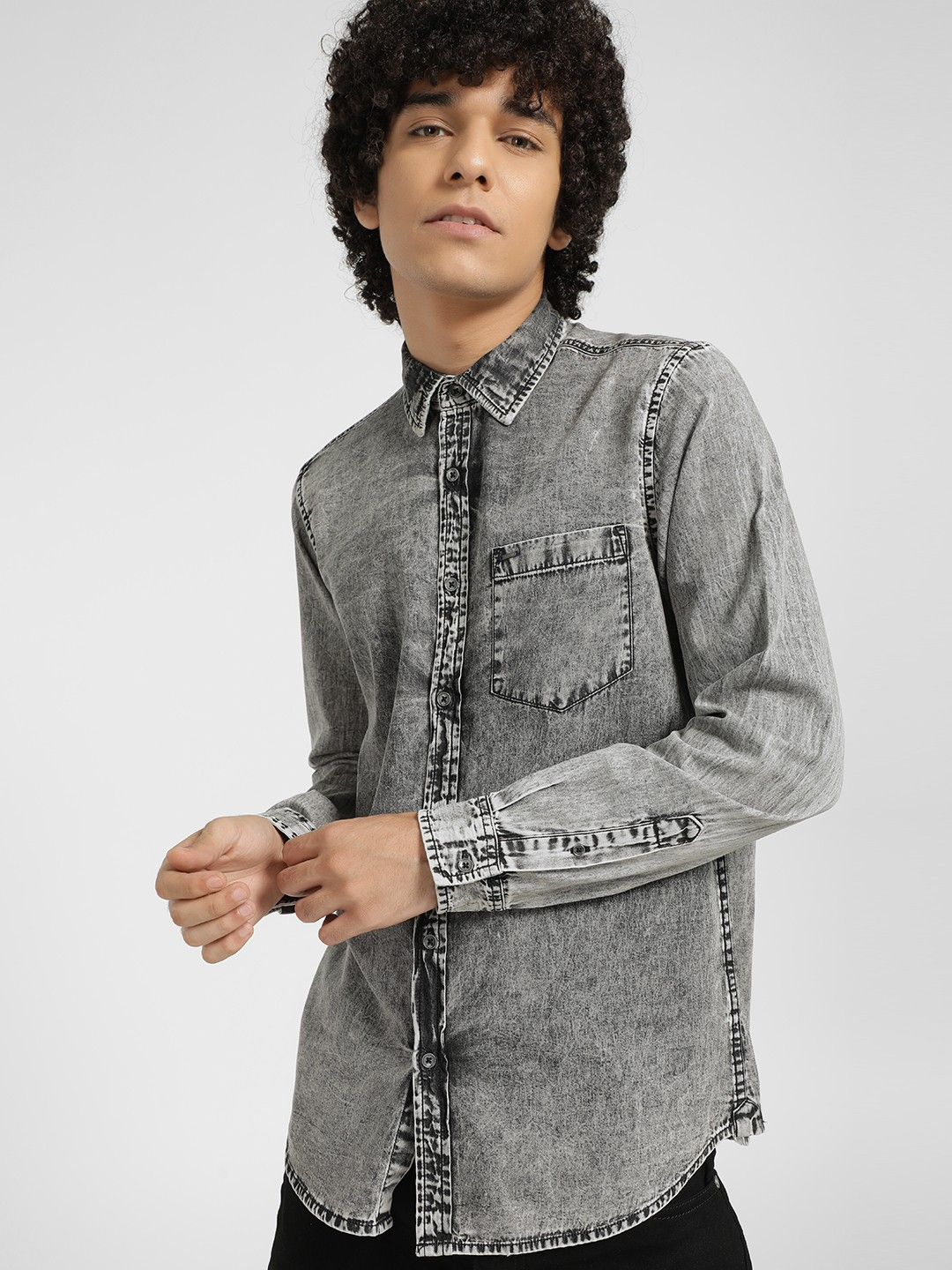 Lee Cooper Grey Bleach Wash Casual Shirt 1