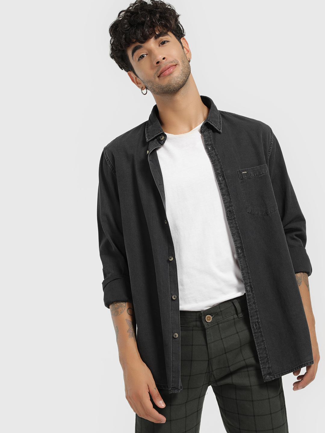 Lee Cooper Black Long Sleeve Denim Shirt 1