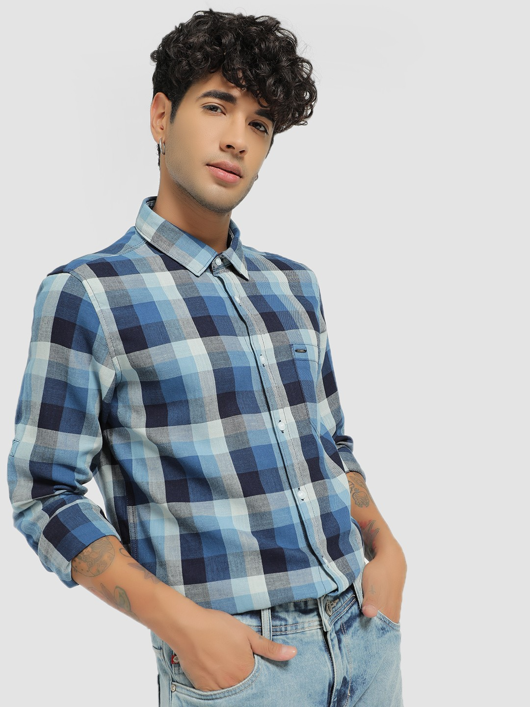 Lee Cooper Blue Woven Multi-Check Shirt 1