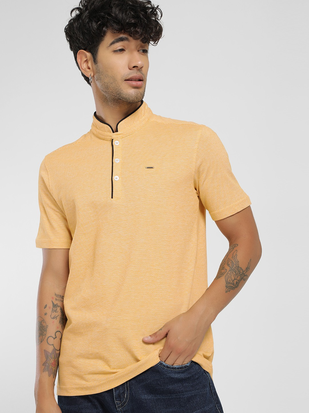 Lee Cooper Yellow Knitted Polo Shirt 1