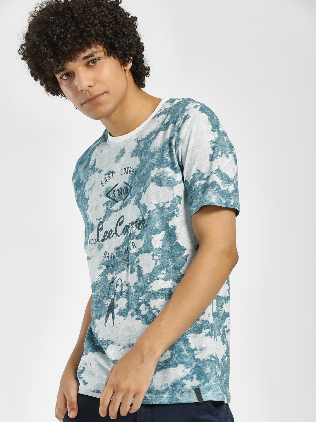 Lee Cooper Blue Washed Camo Print T-Shirt 1
