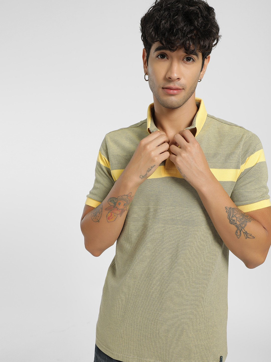 Lee Cooper Yellow Contrast Woven Polo Shirt 1