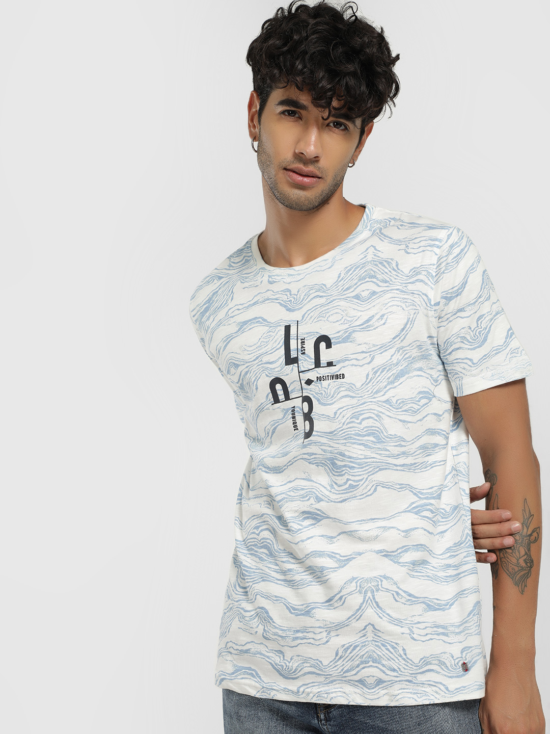 Lee Cooper Off White Placement Print T-Shirt 1