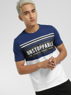 Lee Cooper Colour Block Slogan Placement Print T-Shirt