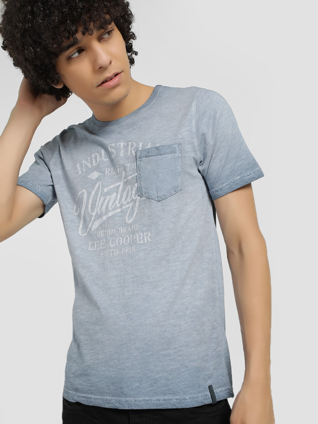 Lee Cooper Blue Ombre Placement Print T-Shirt 1