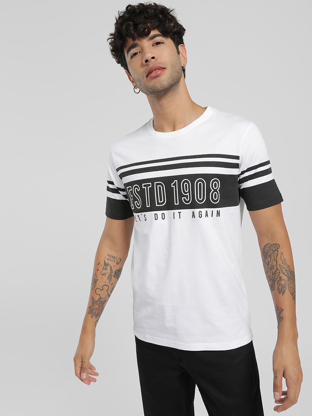 Lee Cooper White Slogan Print Stripe Round Neck T-Shirt 1