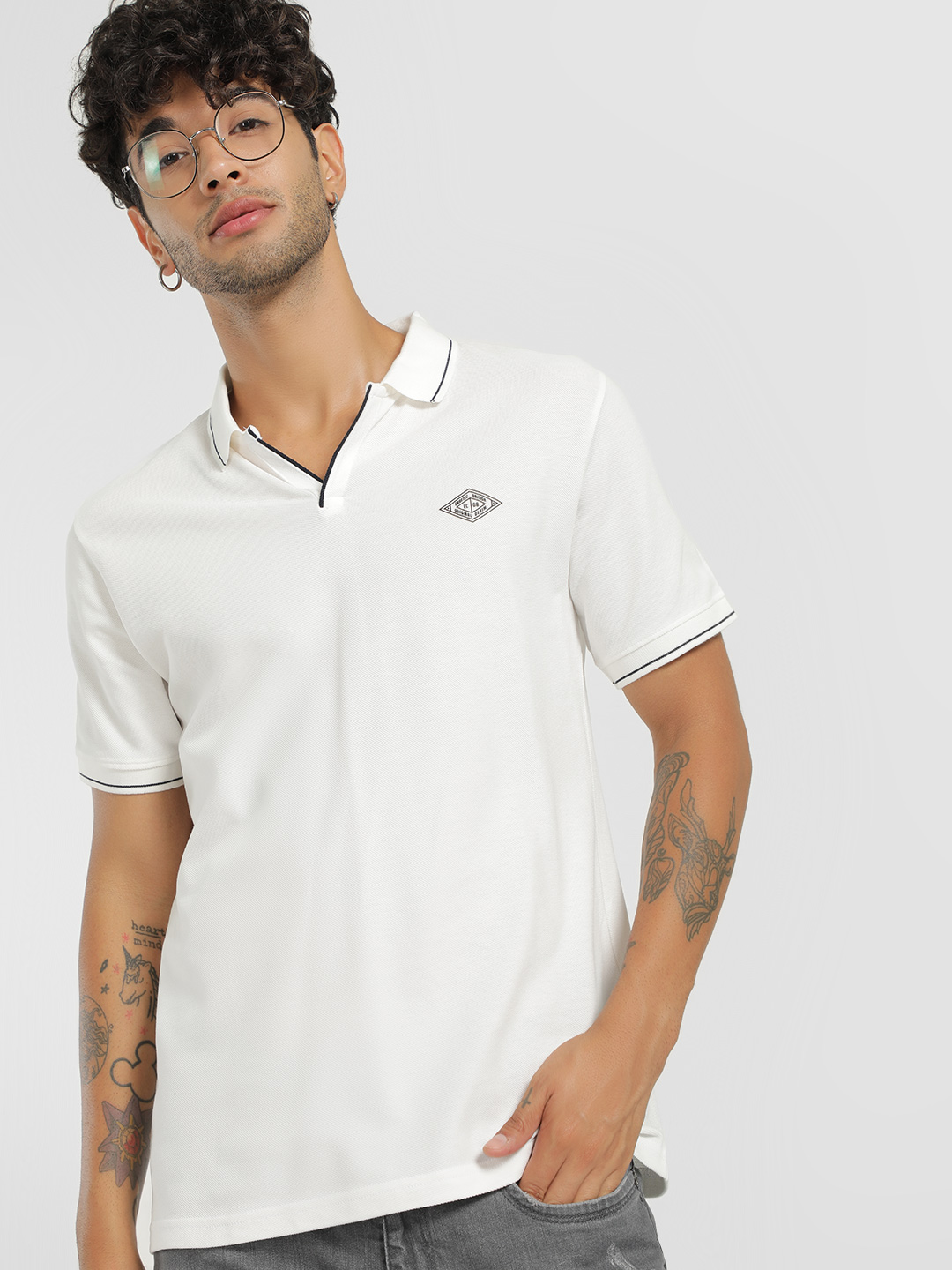 Lee Cooper Off White Contrast Shoulder Stripe Polo T-Shirt 1