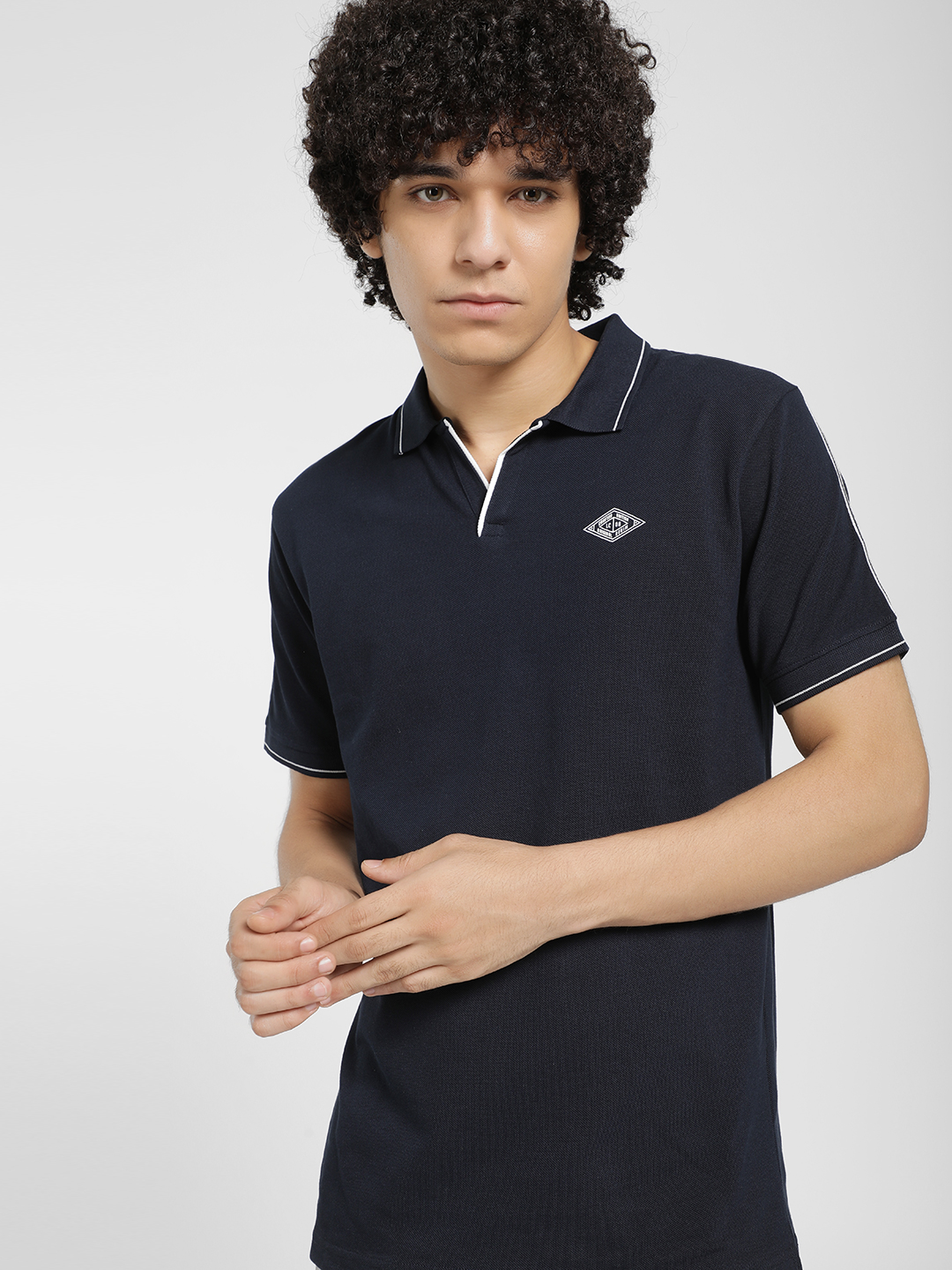 Lee Cooper Blue Contrast Shoulder Stripe Polo T-Shirt 1