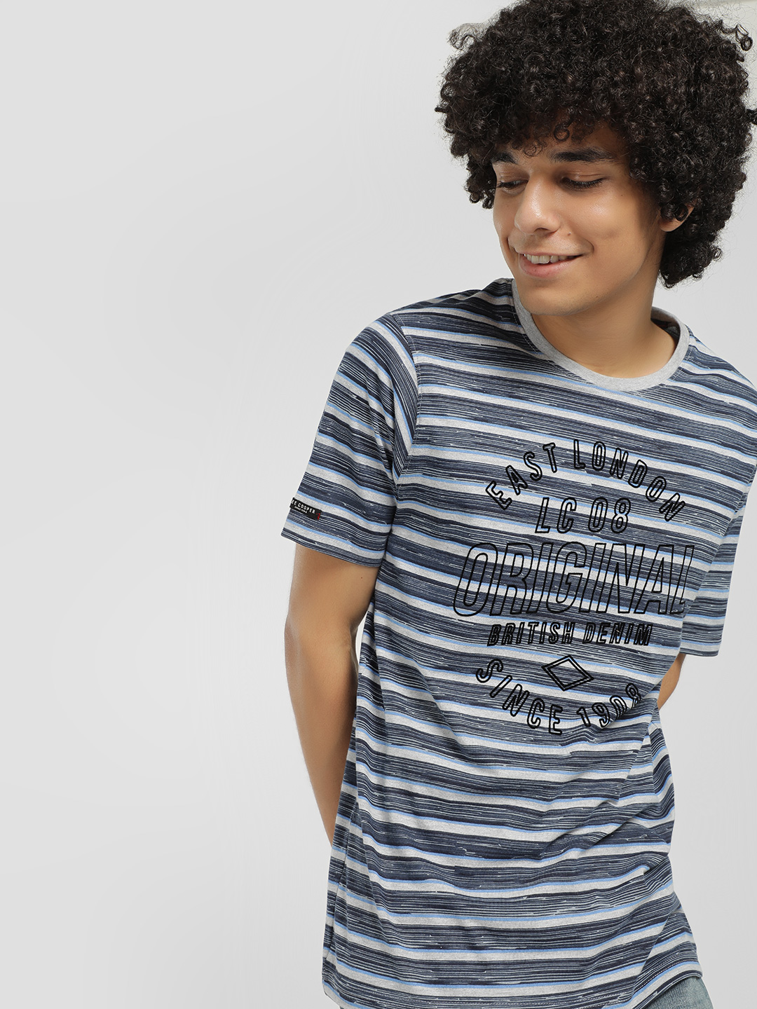 Lee Cooper Blue Striped Text Embossed T-Shirt 1