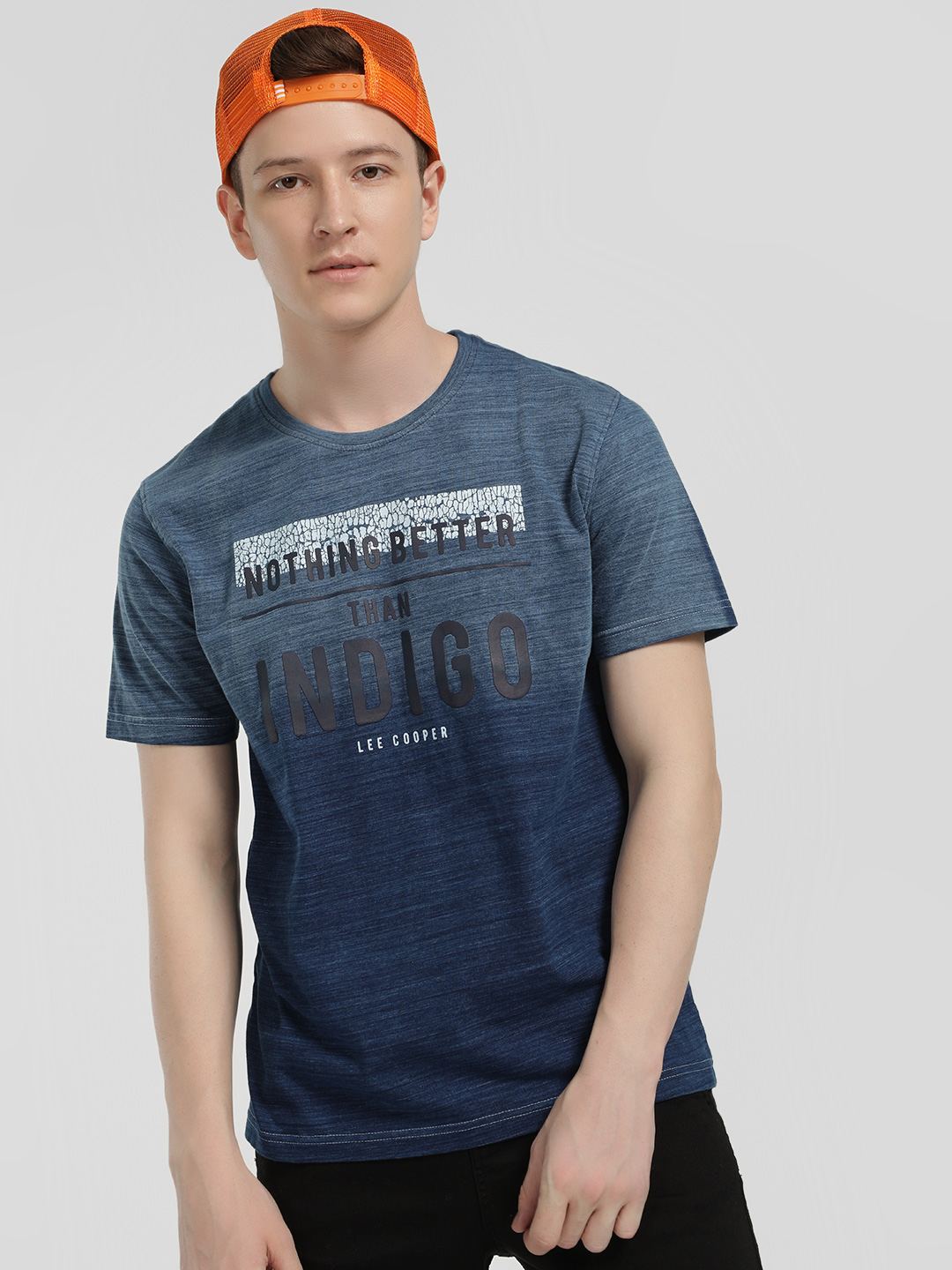 Lee Cooper Blue Round Neck Patched Slogan T-Shirt 1