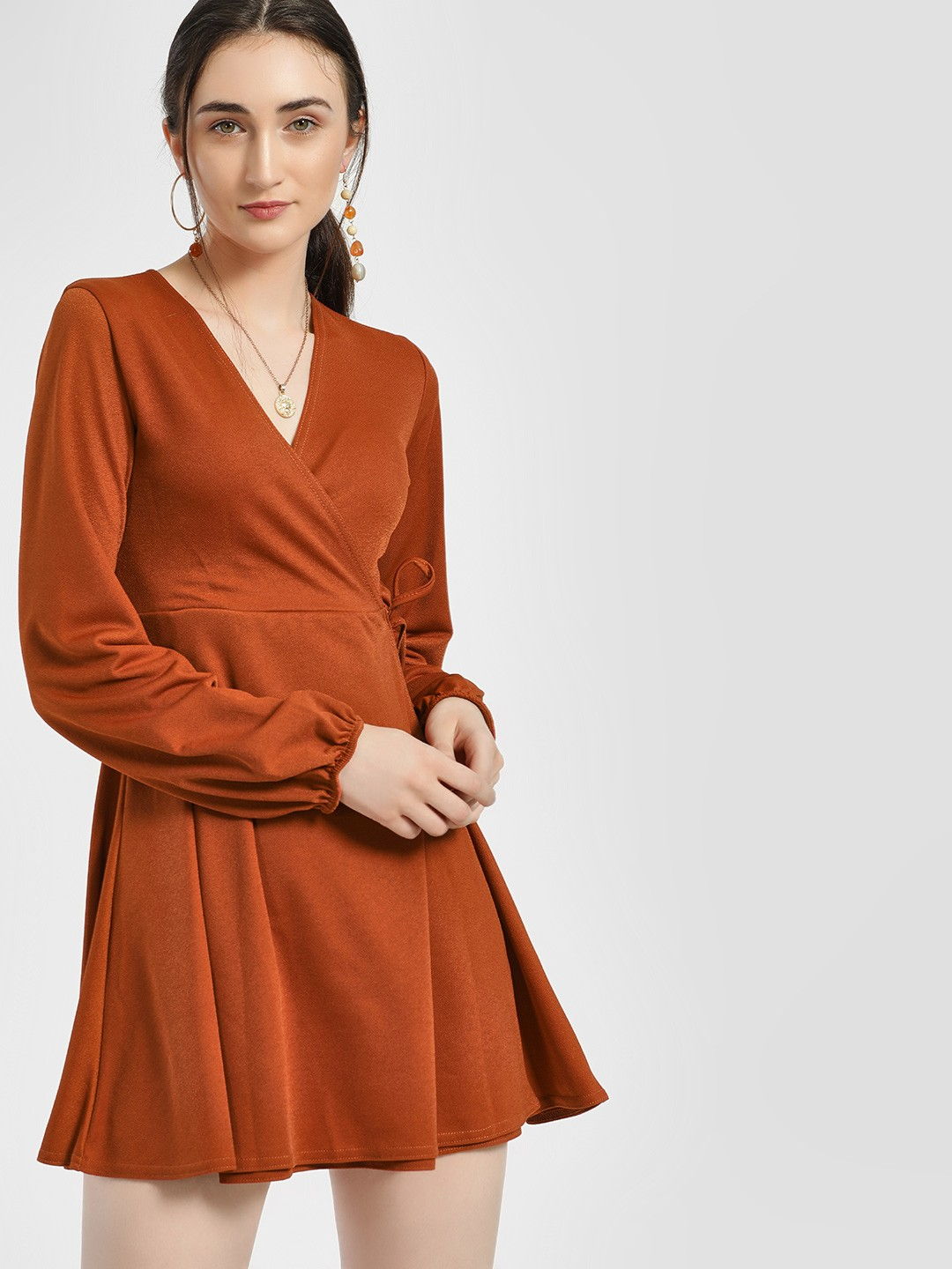 Lasula Rust Overlay V-Neck Skater Dress 1