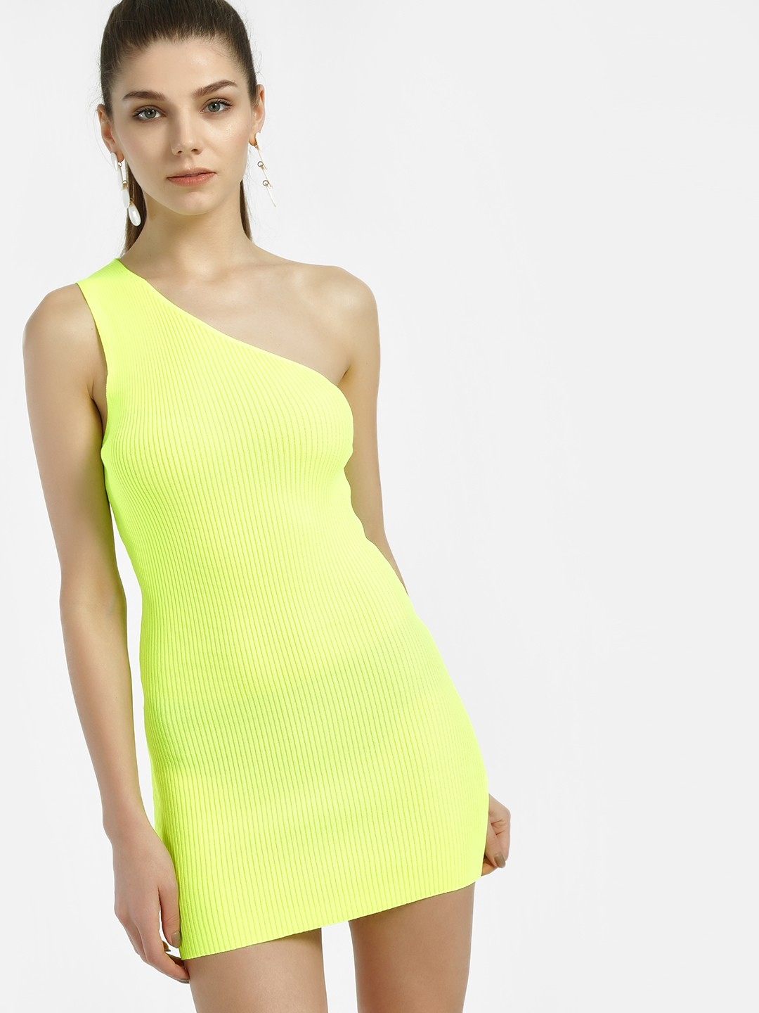 Miss Toxic LIME One Shoulder Ribbed Bodycon Dress 1